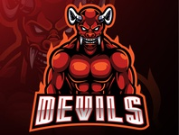 Red devil mascot logo design