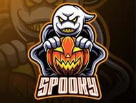 Spooky ghost and pumpkin logo mascot designs