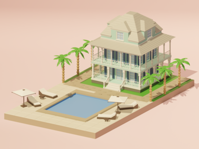 Beach Hotel Booking Render 3D