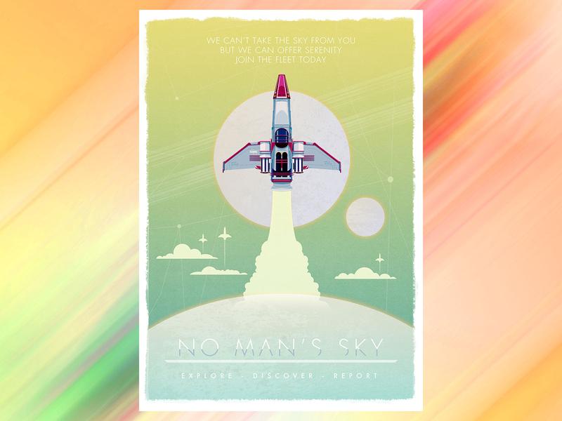 No Man Sky Poster fanart geek-art geek samuel f design nasa adobe photoshop adobe illustrator illustrator nomansky no man sky poster design vector poster illustration