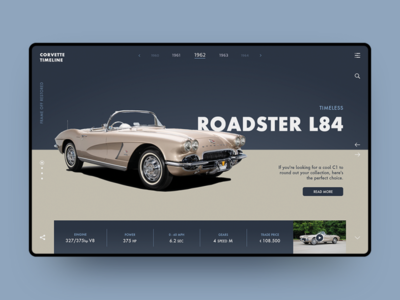 Corvette Timeline illustration minimal web ux typography ui design