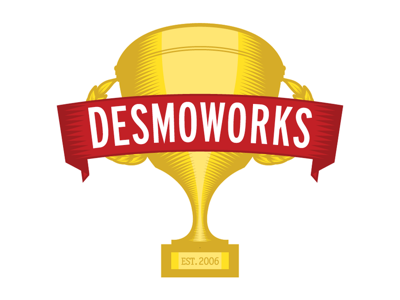 Desmoworks logo gold red woodcut