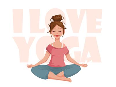 Yoga asana happy sport cartoon relax woman design girl yoga lotus character meditating