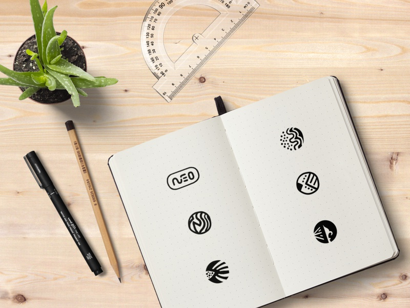 Neo Steel Art Logo Sketches