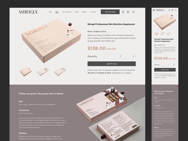 Miriqa E-Commerce Website   Skin Product Page web design ui design ecommerce design web ui