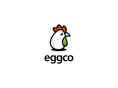 Egg or chicken with Leaf Logo Concept