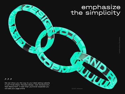 emphasize the simplicity website animation 3d graphic design