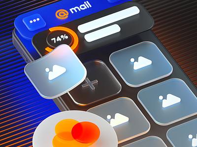 3D Interface for Cloud.mail.ru branding design illustration ui 3d