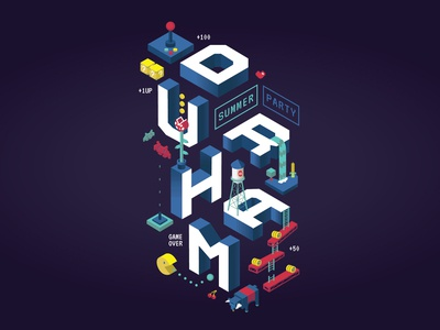 Durham Summer Party isometric typography illustration design