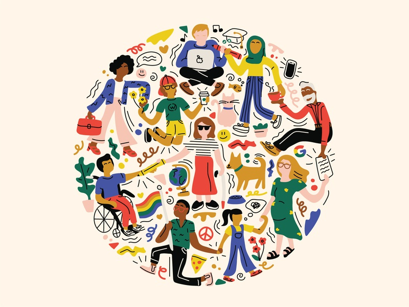 Everyone is Welcome Here inclusive vector flat illustration design