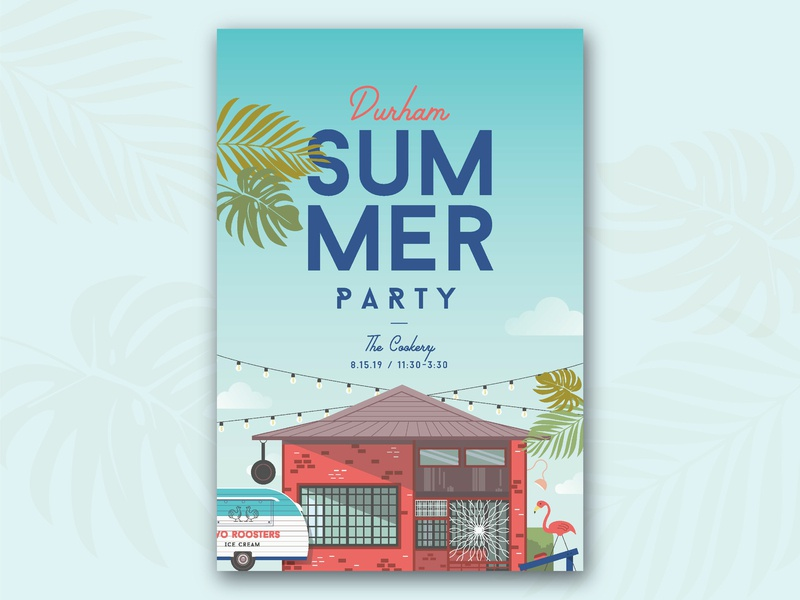 Durham Summer Party illustration vector poster design