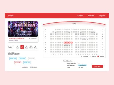Cinema Ticket booking app user interface movie ticket booking ux ui figma auditorium movie ticket ticket booking