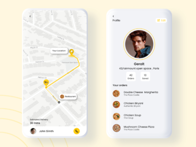Order Tracking and Profile page product design ux ui profile page profile map order tracking