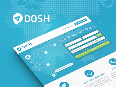Dosh isoflow case study website design responsive transfer money payment dosh