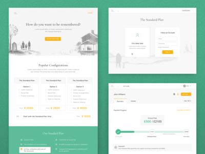 Funeral Plan Provider green marketing site web app funeral plan ui ux