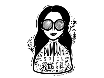 Pumpkin Spice Latte Girl autumn latte starbucks digital art girl pumpkin spice latte coffee doodles coffee illustration illustration