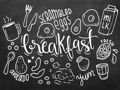 Breakfast doodles and hand lettering avocado morning coffee breakfast foodie food hand writing type typography calligraphy hand lettering lettering