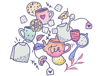Tea and Cookies Doodles t-shirt design food snacks color palette tea illustration tea doodles tea and cookies tea cup cookies illustration