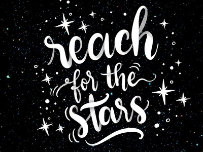 Reach for the stars! motivational ipad pro lettering type typography calligraphy stars lettering hand lettering