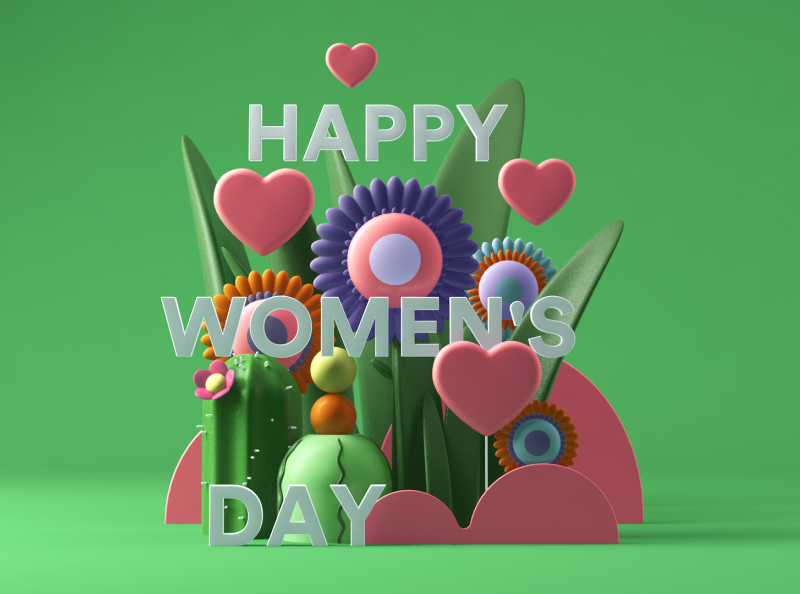 Happy Women's Day image composite  image composing visual website clean simple c4d colorful color digital design art 3d art 3dart 3d day woman happy holidays happy