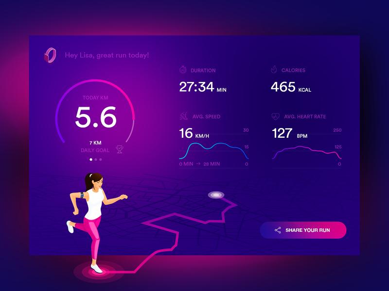 Fitness Dashboard application motion website branding digital colors concept bitfuel illustration design