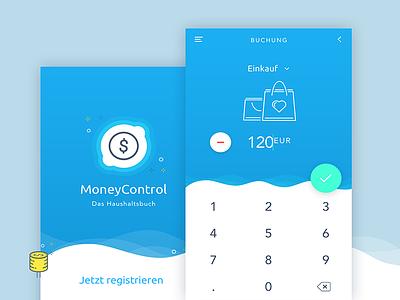 MoneyControl App Concept icon calculator interface application finance control money ux ui design app