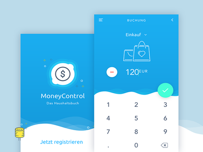 MoneyControl App Concept icon calculator interface application finance control money ux ui design app