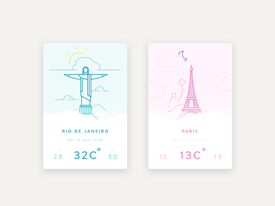 Weather UI warm icons outline rebound design colors ux ui weather