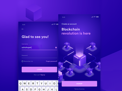 Blockchain Sign Up Snippet revolution design app purple lila sign up login snippet ux ui cryptocurrecy blockchain