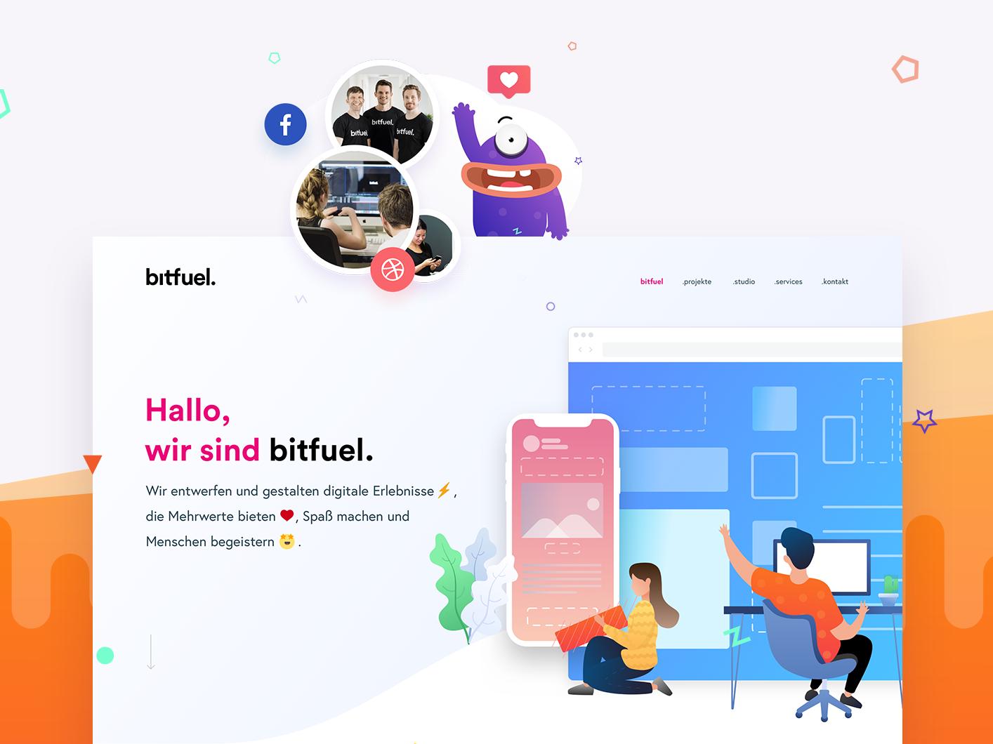 bitfuel. GmbH - Brand. Digital. Motion. icon branding flat web digital typography concept brand motion colors logo vector ux bitfuel design illustration layoutdesign layout website ui
