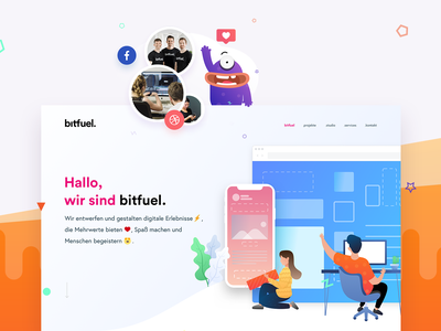 bitfuel. GmbH - Brand. Digital. Motion. icon branding flat web digital typography concept brand motion colors logo vector ux bitfuel design illustration layoutdesign layout website ui