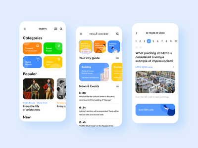 """Redesign of the application and web portal """"Know Moscow"""" guide stories categories test news mobile moscow illustration exibition quests events information ux ui"""