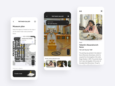 Interactive route to museums mobile map guide art plan route museum design app ux ui