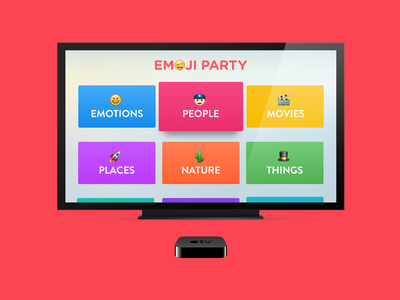 Emoji Party for Apple TV ui design tv apps tiny hearts emojis tv os fun vibrant colors apple tv emoji party