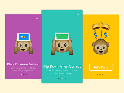 Emoji Party Onboarding colorful monkeys onboarding app game mobile iphone ios