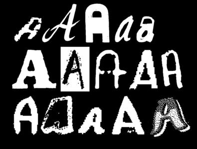 Dominican Vernacular Type Specimen – A's bitmap vector design letter blackandwhite typography