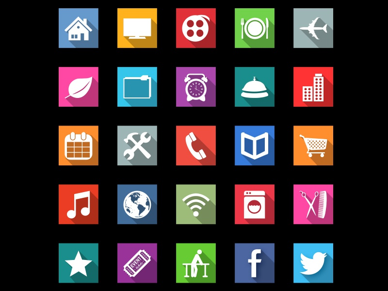 UPDATED Long Shadow Hospitality Icons icons hospitality shadow flat square long