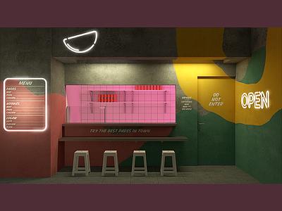 Carinderia At Night render pink dine concrete pattern night interior facade neon pares carinderia design branding 3d