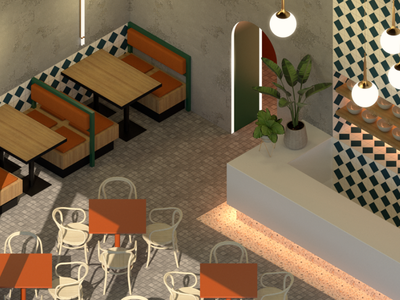 Isometric Cafe tiles counter interior design interiors restaurant dining cafe isometric design cgi 3d