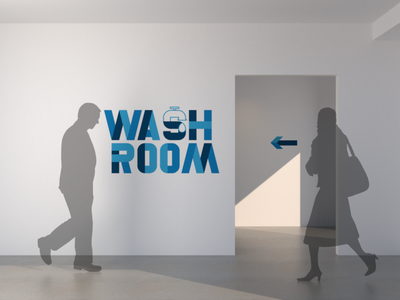 Wash Room silhouette concept arrows typeface environmental graphics interior design interiors washroom wash virus pandemic covid wayfinding architecture architectural cgi 3d