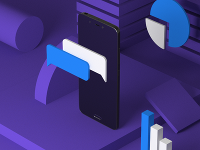 Phone Business violet data isometric phone icons corporate ecommerce design cgi 3d