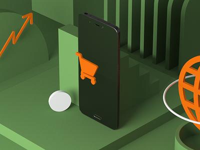Phone Shopping visualization data mobilephone cart shopping phone icons orange green corporate ecommerce design isometric cgi 3d