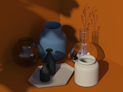 Vignette terracotta shadow interiors glass vase visualization styling productshot vignette design studio cgi 3d
