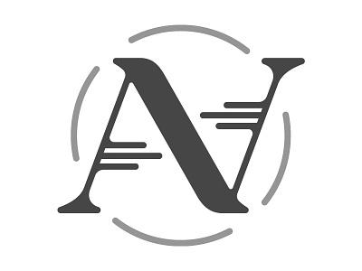 Angela & Nathan's Wedding Monogram flip circle hand-drawn lettering wedding n a monogram