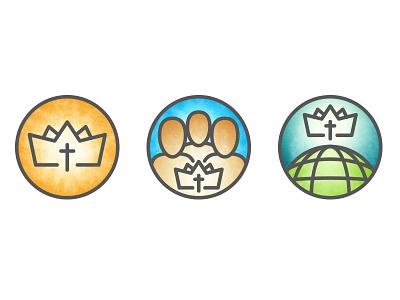 Church Icons monoline crown cross community mission world icons fellowship