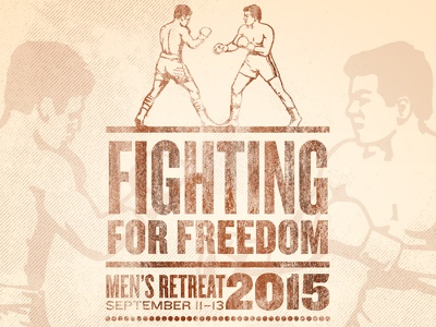 FIghting for Freedom grunge stacked type men boxer letterpress freedom