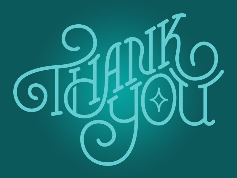 Thank You creative fun script thank you lettering