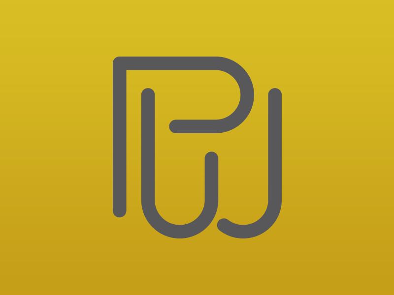 PWJ Monogram branding gold gray letters monogram