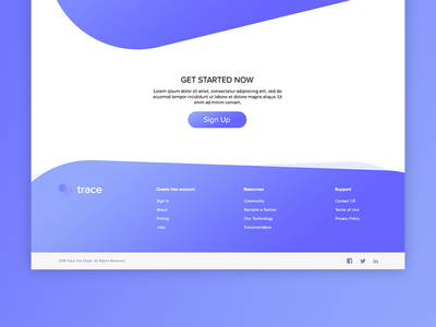 Footer footer ux ui web design product page process blue landing website