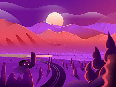 Mountain Sunset sunset mountain design texture gradient figma modern simple clean illustration nicholas kovalev